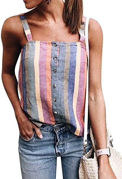 Mujer Camisas Fashion Elegantes Coloreado Rayas Chalecos ...
