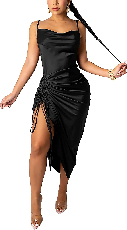 AOZZO Women's Summer Sexy Ruched Midi Dress Adjustable Spaghetti Strap Bodycon Drawstring Side Slit Slip Party Clubwear