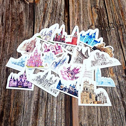BLOUR 20 Stück Bunte Burg wasserdichte Aufkleber Kinder Kinder Mädchen Jungen Studenten Geschenk Aufkleber DIY Tagebuch Planer stationäre Aufkleber