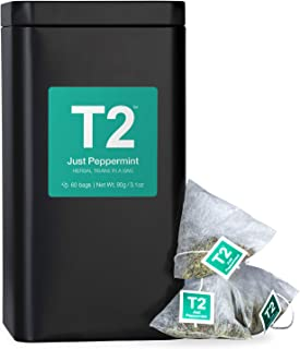 T2 Tea Just Peppermint Herbal Tea in Tea Caddy 60 Teabags, 1 x 60 Count