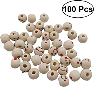 Healifty 100pcs/pack Wood Colored Drawing Smiley Face DIY Cute Wooden Beads