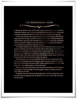 The Hippocratic Oath Gold Foil Art Print. 36 Background Colours. Graduation Gift. Hippocrates Quote Poster Doctor Medical Student