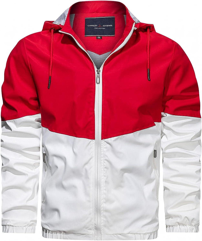 Men's Casual Hooded Jacket Contrasting Color Zipper Long Sleeved Pockets Warm Cozy Windproof Motorcycle Jacket Coat