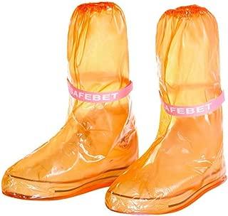 Zehui Portable Waterproof Anti-Slip Reusable Rain Shoe Rain Boots Cover Rain Gear Raincoats Accessories Orange Small