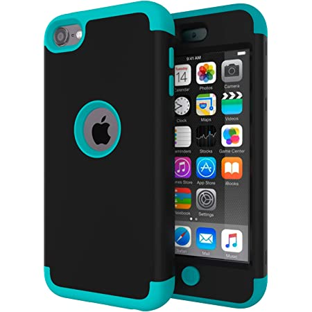 TM High Impact Heavy Duty Shockproof Full-Body Protective Case with Dual Layer Hard PC iPod Touch 7 Case,iPod Touch 6 Case,SLMY Soft Silicone For Apple iPod Touch 7th//6th//5th Generation Black//Blue