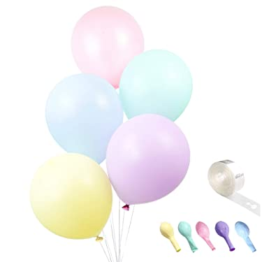 10-Inch Multicolor Party Pastel Balloons, 100 Pcs Macaron Candy Colored Latex Balloons, Birthday Balloon Arch Kit, Rainbow Balloons Decoration, Unicorn Balloons, Mermaid Balloons for Baby Shower