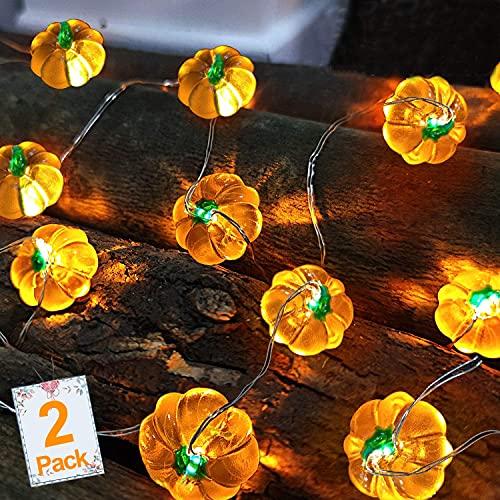TURNMEON 2 Pack 3D Thanksgiving Pumpkin Lights Fall Garland Decor, Total...