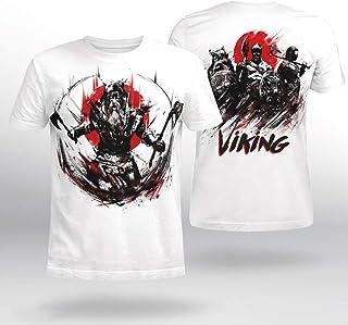 バイキング海賊バーサーカー3DレンダリングTシャツ、メンズ北欧ヴィンテージプリント夏の半袖Tシャツ、ヴァルハラ,白,XL