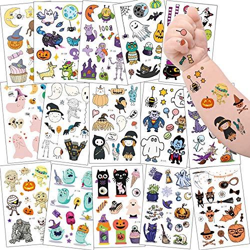 Sporgo Tattoo Kinder, Einhorn Fußball Märchen Kleine Fee und Elfen Halloween Tattoos Set,Temporäre Tattoos Kinder Aufkleber für Kindergeburtstag Mitgebsel Party (Halloween)