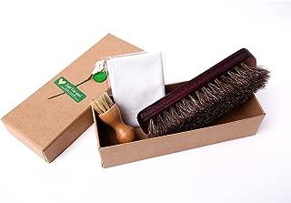 靴ケア用品 お手入れ3点セット レザーケア 100%天然馬毛ブラシ 豚毛ブラシ ケアクロス