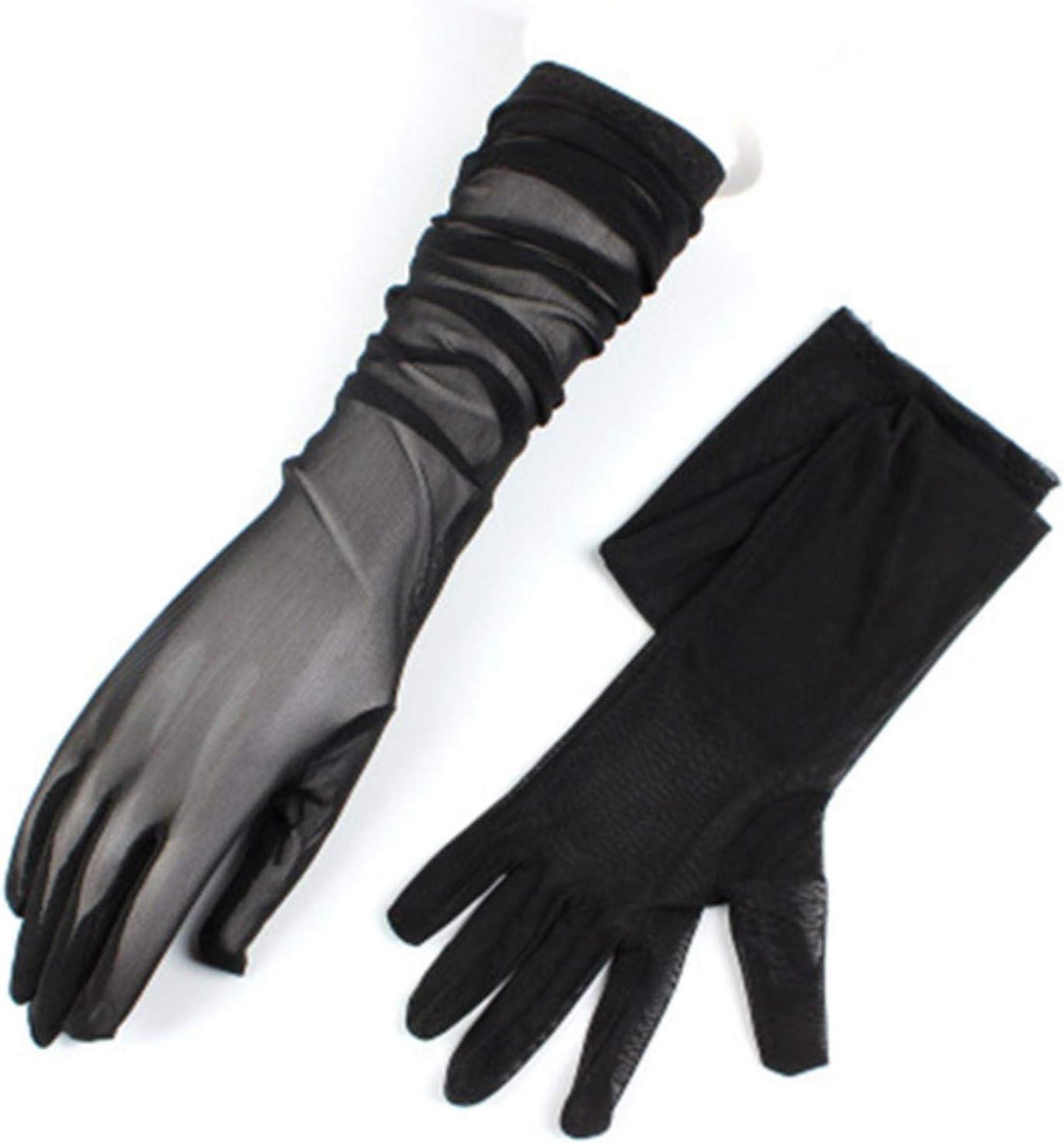 Women Ultra-Thin Long Summer Driving Cycling Black Sunscreen Gloves Female Anti-UV Elasticity Lace Mesh Gloves