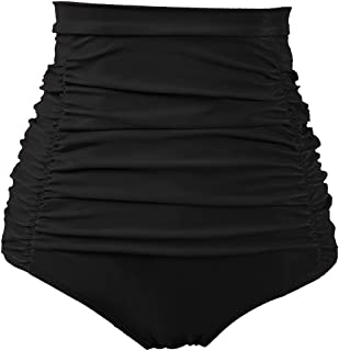 Women's Ruched High Waisted Bikini Bottom Retro Vintage Swim Short Tankinis (FBA)