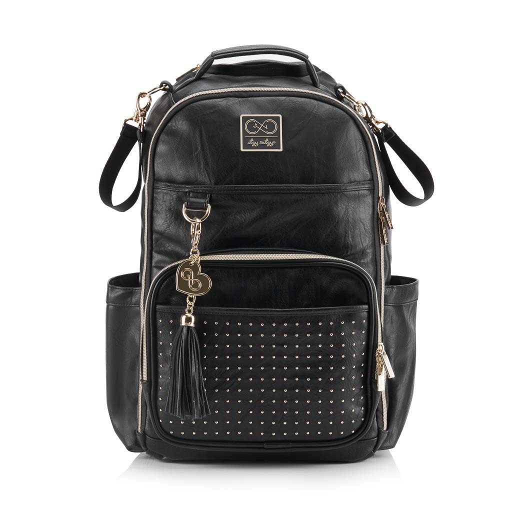 Chelsea + Cole for Itzy Ritzy Diaper Bag Backpack - Studded Boss Backpack Diaper Bag Includes 19 Pockets, Changing Pad, Stroller Clips & Tassel; Black with Sweetheart Print Interior & Gold Hardware