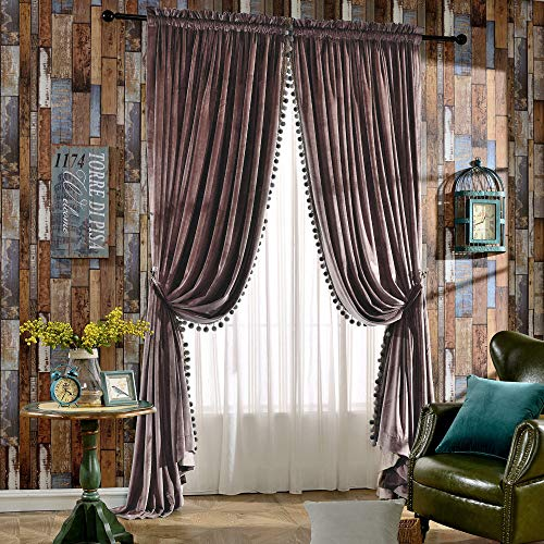 Melodieux Luxury Pom Poms Velvet Curtains for Bedroom Living Room Thermal Insulated Rod Pocket Drapes, 52x84 Inch, Dusty Pink (1 Pair)