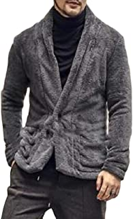 YYG Men's Blazer Fuzzy One Button Fleece Fall & Winter Faux-Fur Warm Jacket Coat Outerwear