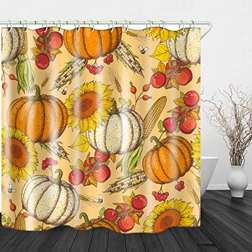 Red Fire Duschvorhang, wasserdicht, Polyester, für Badewanne, Badezimmer, Sonnenblumen, Kürbis-Druck, 180,3 x 180,3 cm