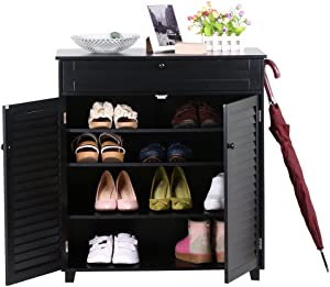 Shoe Storage Cabinet Organizer 3 Shelf 1 Drawers 2 Doors Entryway Stand
