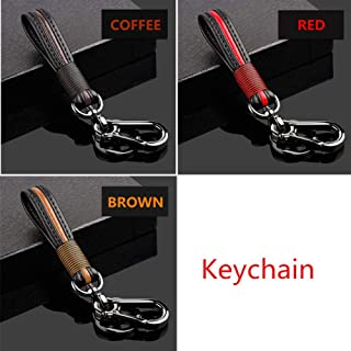 MoKo Car Key Case Dark Coffee Retro Wax Leather Car Smart Keychain Coin FOB Punch Holder Wear-Resistant Key Zipper Bag with Metal Hook Support Remote Control