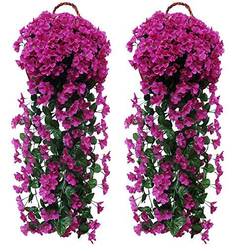 Fycooler Artificial Wisteria Vine Violet Ivy Flowers Cesta de Flores Colgantes Artificiales Guirnalda Colgante de Glicina de Imitación para Jardín de Bodas en Casa al Aire Libre / Decoración Floral
