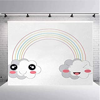 Anime Photography Background Cloth Two Clouds and a Rainbow Happy Face Expressions Japanese Design for Kids Nursery for Photography,Video and Televison 9ftx6ft Multicolor