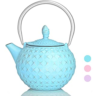 Teapot Japanese Cast Iron Tea Kettle with Stainless Steel Infuser,Cast Iron Teapot Stovetop Safe, Diamond Design Teapot Coated with Enameled Interior for 28 Ounce, Turquoise Blue