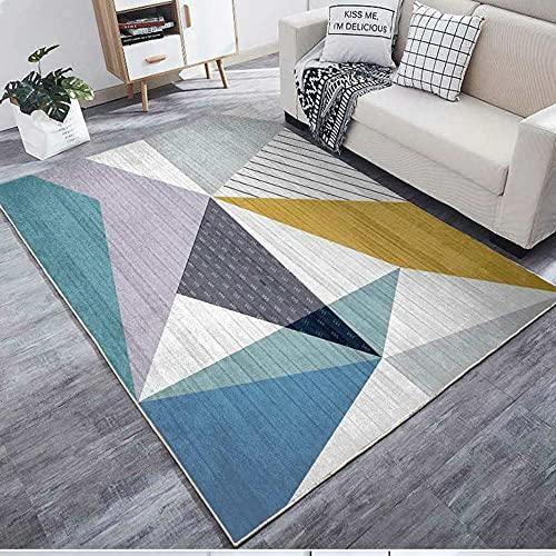 CCTYJ Gris, Negro, marrón, Cian, combinación de Color, geométrico, Resistente a la decoloración, Resistente al Desgaste, Sala de Estar del Lado de la Cama del área de la cabecera alfombra-80x160cm Es