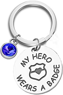 KUIYAI My Hero Wears a Badge Police Bracelet with Handcuff Charm Bracelet for Dad Mom