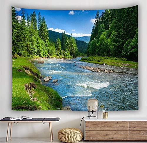 KHKJ Bosque Stream Tapiz Toalla de Playa Cascada Paisaje Hermosa Pintura Alfombra de Pared Estera de Yoga Decoración del hogar Mantel A2 150x130cm
