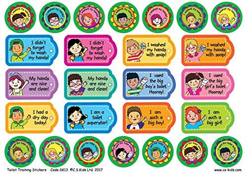 C.S. Kinderen Toilet Training Sticker (Pack van 156)-Kleurrijke Leuke Prijs/Verdienste Rond/Tags/Bloemstickers/Etiketten voor Leraars/Parken Aanmoedigen Toilet Leraren voor Toilet Training/Was Handen