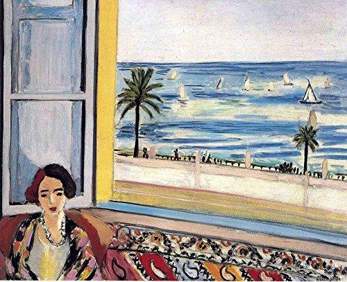 Get Custom Art Henri Matisse – Sitzende Frau zurück gedreht zum offenen Fenster, Poster-Kunstdruck, Wanddekoration – Größe 61 x 76 cm