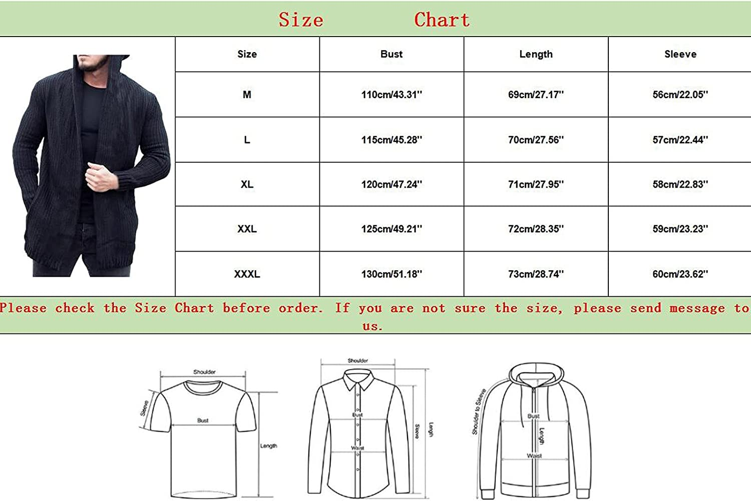 Huangse Men's Knitted Hooded Sweater Shawl Collar Mid-Length Long Sleeve Button Down Cardigan with Pockets