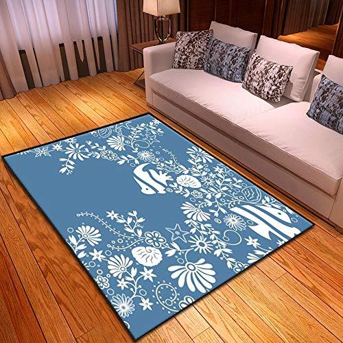CQIIKJ Alfombra Estampada Flor Blanca Azul Alfombra Antideslizante Alfombra Lavable 60 x 90 cm para la Entrada de casa, baño o Dormitorio Lavandería