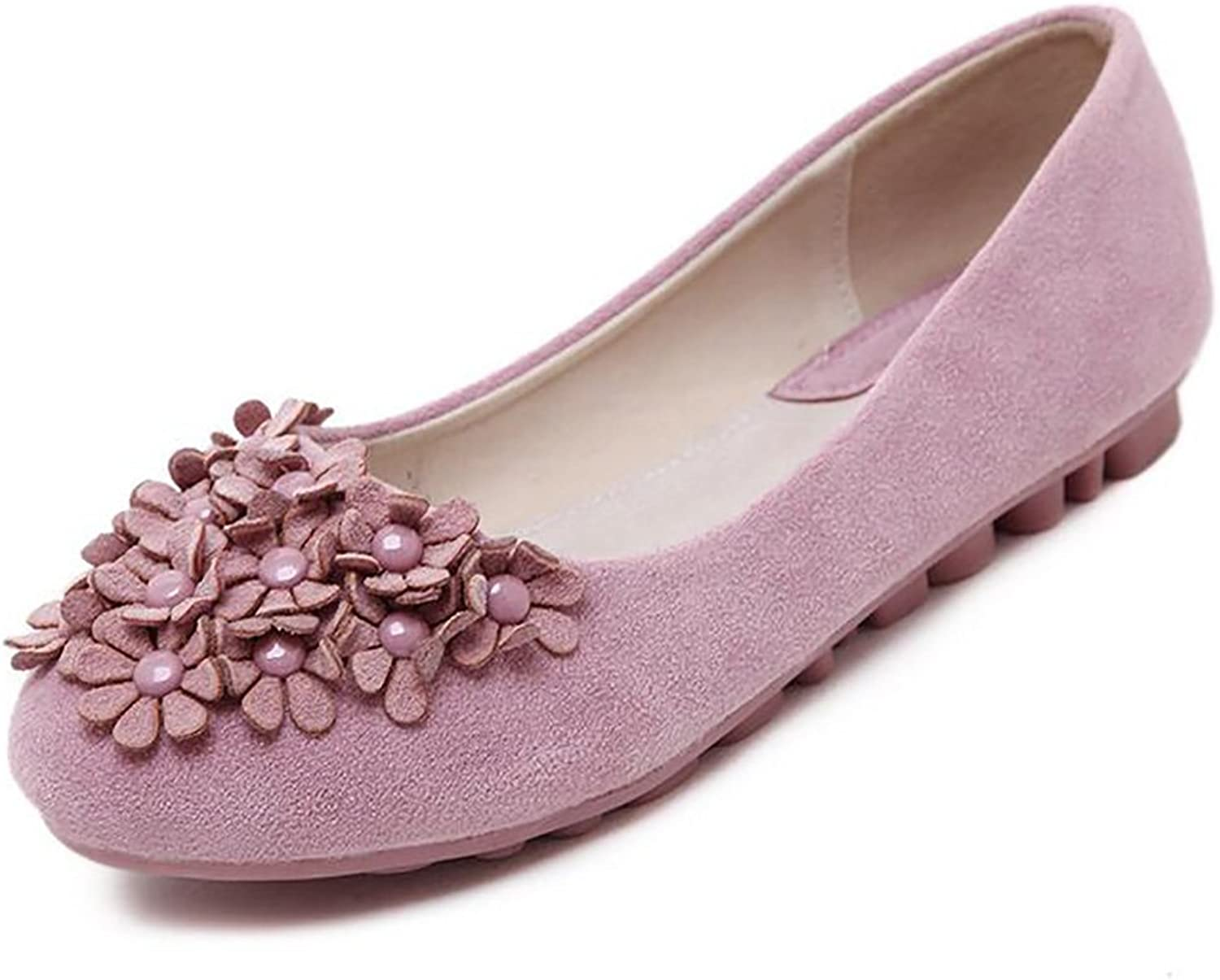 BININBOX Women's Flowers Flat shoes Round Toe Loafers