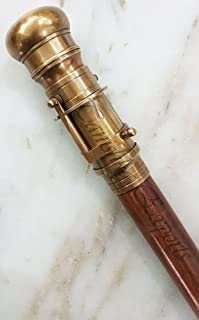 Beautiful Nautical Antique Finish Walking Stick Telescope Collectible Wooden Cane with Brass Telescope Handle