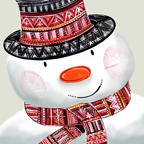 STAMPA-SU-TELA-INCORNICIATA-P.S.ArtStudios-Cm_91_X_91-Pupazzo-di-neve-Vacanze-di-Natale-figurativo-simpatico-pupazzo-di-neve-cartolina-di-Natale-Quadro-su-tela-con-cornice-a-cassetta-america