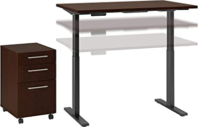 Bush Business Furniture Move 60 Series Height Adjustable Standing Desk with Storage, 48W x 24D, Mocha Cherry