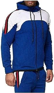 Howely Men Full Zip Plus Size Sport Outwear Stripes Hooded Sweatshirt