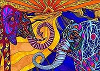 クロスステッチキットスタンプ済み刺繍スターターキッ色象 DIYホリデーギフト室内装飾工芸品16×20インチ