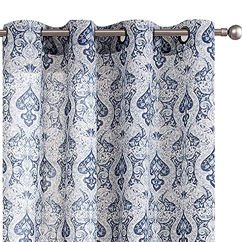 """Medallion Linen Curtains for Living Room Curtain Panels Flax Retro Print Linen Blend Damask Curtains for Bedroom Window Panels 95"""" Blue Drapes 1 Pair"""