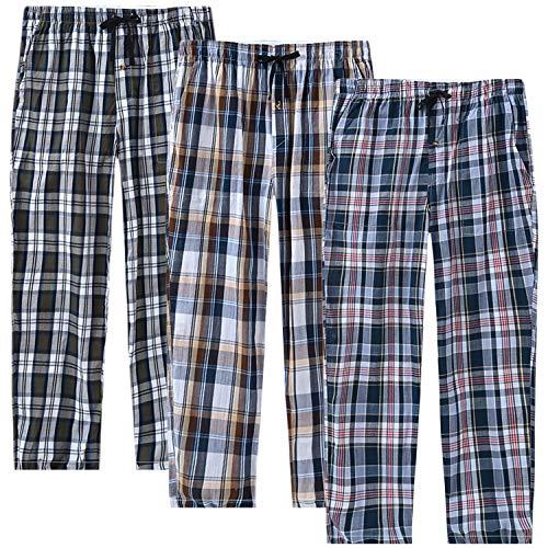 MoFiz Herren Lange Pyjamahose Weich Schlafanzughose Baumwolle Freizeithose Loungewear 3 Pack L