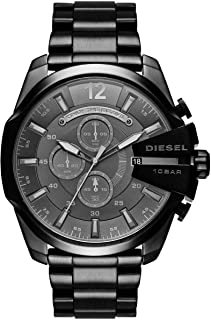 Diesel Mega Chief Men's Black Dial Stainless Steel Analog Watch - DZ4355
