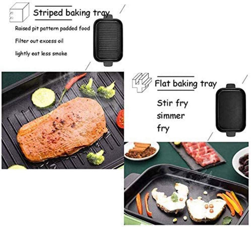 Multifunctionele BBQ-pan voor het huishouden, elektrische warmkookpan, compact, multifunctioneel, elektrisch verwarmd + Takoyaki-plaat + pan met keramische grill. PINK