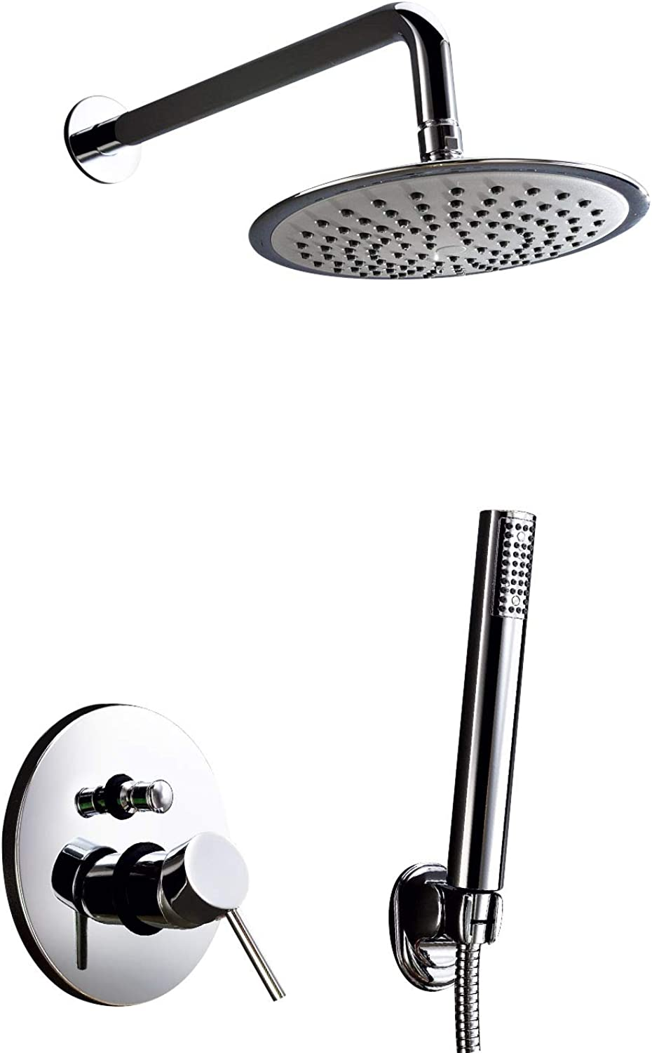 Lightinthebox Contemporary Single Handle Bathroom Shower Faucet System with 8 inch Shower Head + Hand Shower, Chrome Finish Solid Brass Material Ceramic Valve