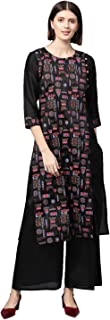 Ziyaa Women's Black khadi print Straight Polysilk Kurta With Palazzo / Salwar Suit Set