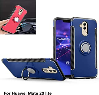 Huawei Mate 20 lite Case,360° Rotating Ring Kickstand Protective Case,TPU+PC Shock Absorption Double Protection Cover Compatible with [Magnetic Car Mount] for Huawei Mate 20 lite (Blue)