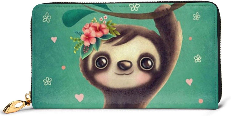 Cute Sloth Leather Wallet Women Cheap sale Long Purse Around Zip Clutch Bag Ranking TOP12