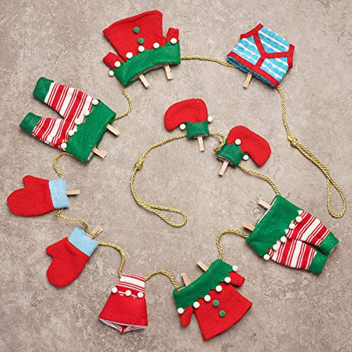 ALLYORS Christmas Plush Mini Outfits Clothesline Garland, Santa/ELF/Snowman Laundry String Banner for Xmas Classic Themed Home Decoration & Ornament on Fireplace/Wall (ELF)