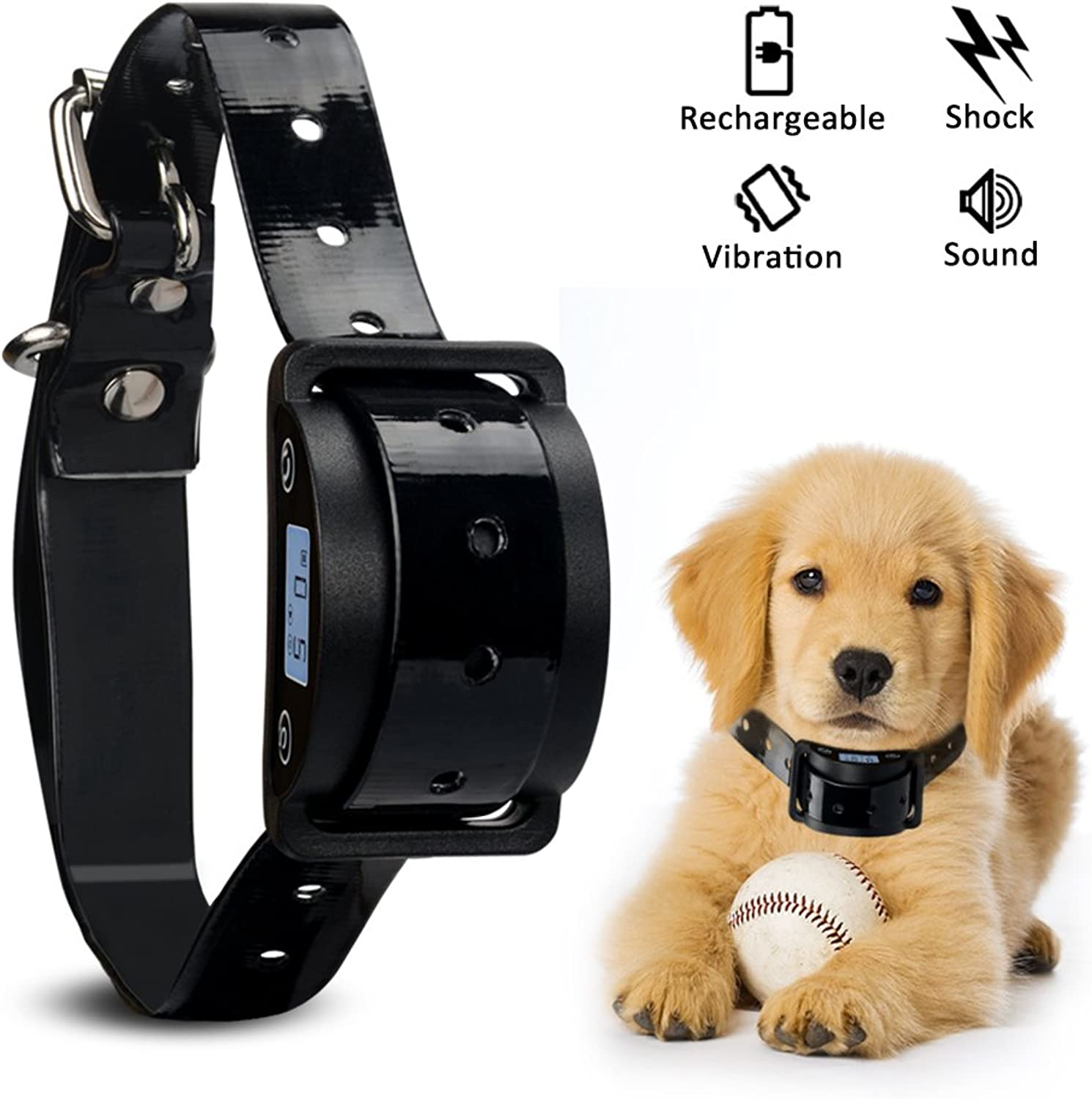 Nigecue LCD Screen Dog Bark Collar, Dog Bark Collar Waterproof and Rechargeable Smart Detection Vibration Shock Beep Anti Bark Modes, 5 Adjustable Sensitivity for Small Medium Large Dogs