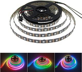 ALITOVE 16.4FT 300 Pixels WS2812B Programmable Addressable LED Strip Light Black PCB 5050 RGB Dream Color Flex LED Rope Light DC5V Not Waterproof