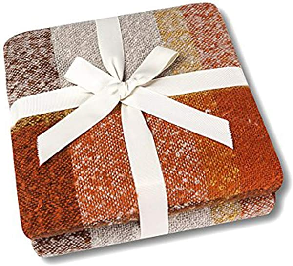 CozzyLife Home Decorations Super Soft Vintage Fluffy Plaid Throw Blanket 100 Acrylic Cashmere Like Bedspread Picnic Tailgate Stadium RV Camping Blanket Throw With Fringe 50 W X 67 L Orange